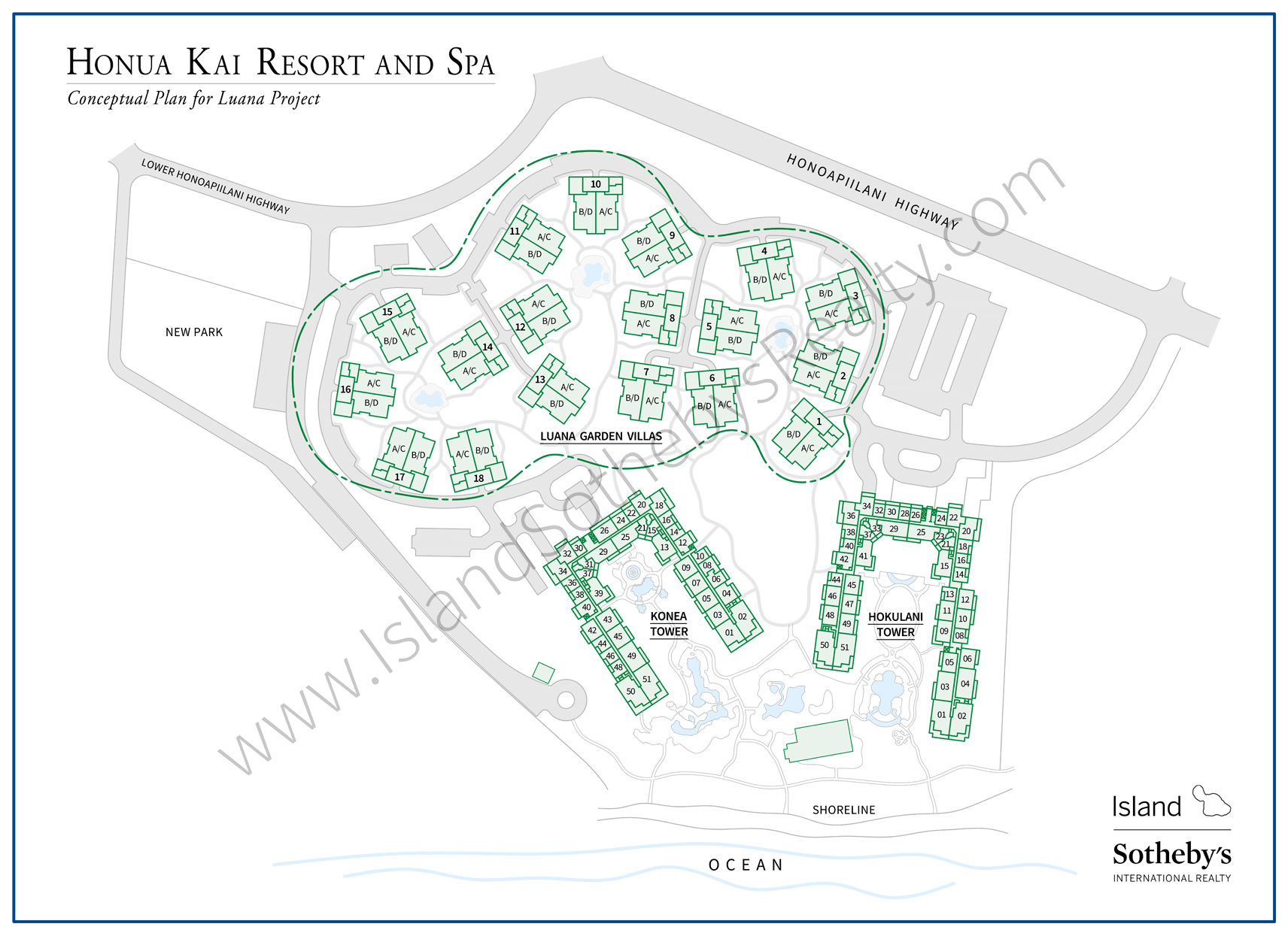 Map Honua Kai and Luana Garden Villas