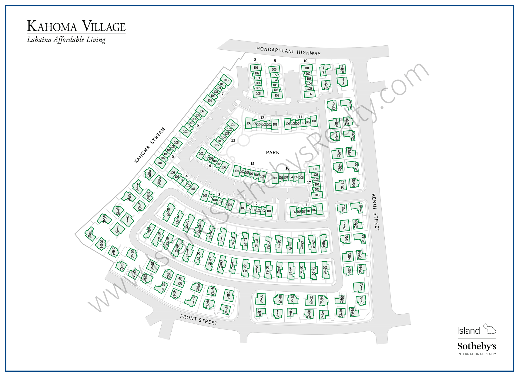 Map of Kahoma Village Maui