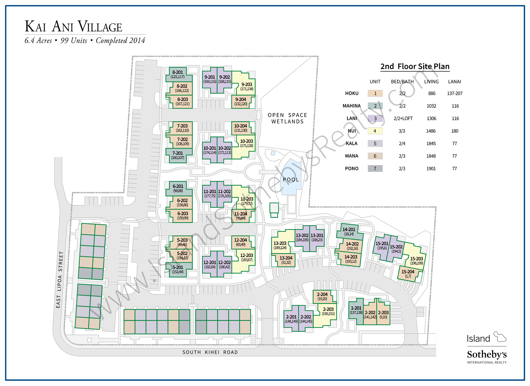 Map of Kai Ani Village 2nd Floor Maui