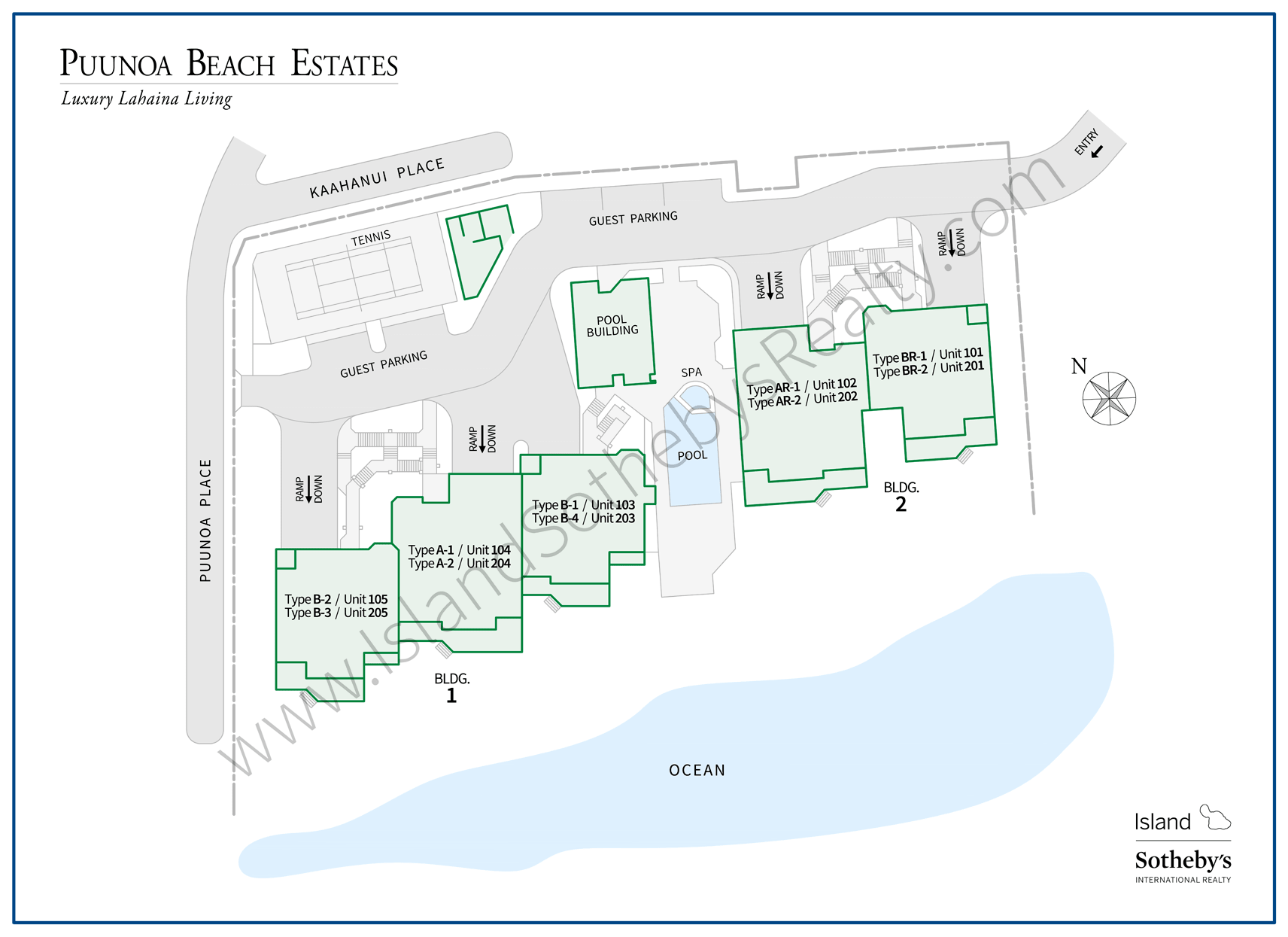 Map of Puunoa Beach Estates