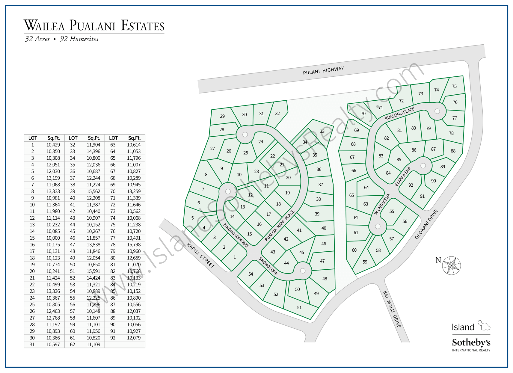 Map of Wailea Pualani Estates Maui